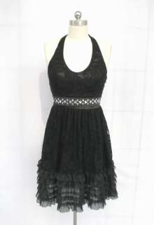 279DW BLACK BEADED SEQUIN LAYERED LACE PADDED DRESS XL