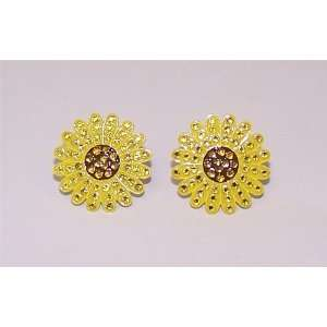Yellow Sunflower Golf Crystal Ball Marker Earrings