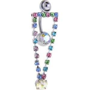 Prismatic Auroa Gem Alannis Dangle Belly Ring Jewelry
