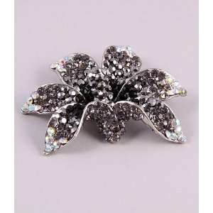 Jewelry Genuine Rhinestone Brooch Flower Black