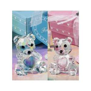Crystal Teddy Bear Baby Shower Favors in Blue/Pink Box Baby