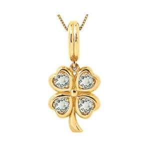 14K Yellow Gold LucK y Charm Four Leaf Clover Pendant White Topaz