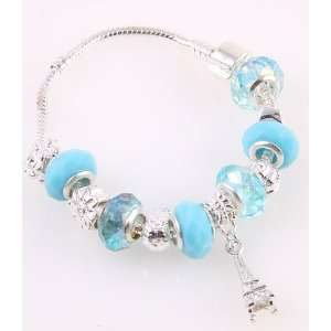 Desinger Murano Glass Bead Bracelet with Pattern Blue