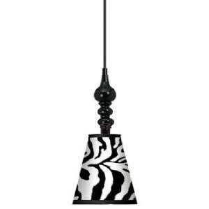 Safari Zebra Giclee 7 1/2 Wide Black Mini Pendant