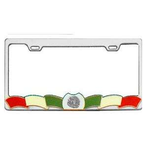 Die Cast Metal License Plate Frame   Mexican Flag Automotive