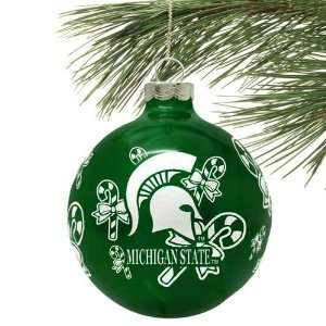 NCAA Michigan State Spartans Green Traditional Glass Ball