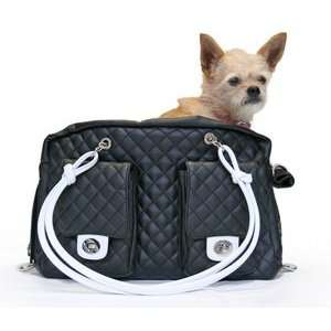 Alex Black Dog Carrier with White Handles S
