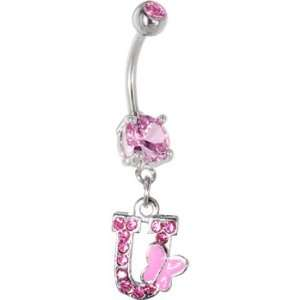 Pink Gem Butterfly INITIAL Dangle Belly Ring   LETTER U