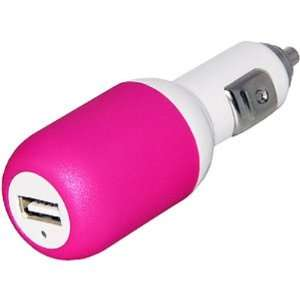 USB Car Charger Adaptor (Hot Pink on White) Cell Phones & Accessories