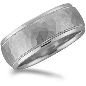 Promise Wedding Band with Hammer Finish and Milgrain Grooves Jewelry