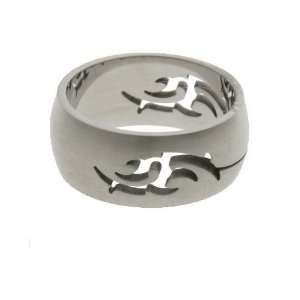 316L stainless steel ring with matte polish and laser cut