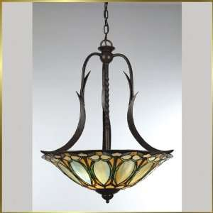 Tiffany Chandelier, QZTF1903IB, 3 lights, Antique Bronze, 25 wide X
