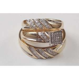 His&hers Engagment Yellow Gold Diamond Ring Trio Set Bn Jewelry