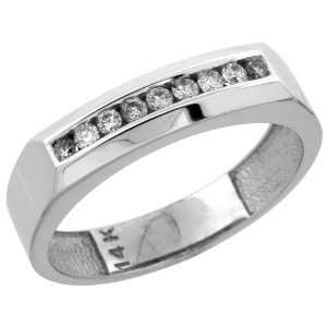 14k White Gold 9 Stone Mens Diamond Ring Band w/ 0.24 Carat Brilliant