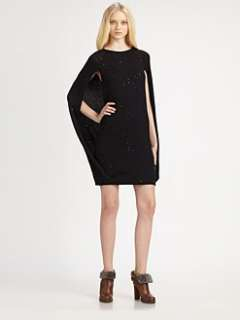 Brunello Cucinelli   Sequined Cashmere Cape Dress