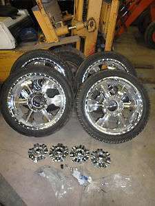 chrome steel rims and tires, 8 lug Chevy truck wheels w/ center caps