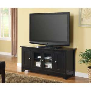 NEW Black 52 Wood Console with 4 Doors Tv Stand