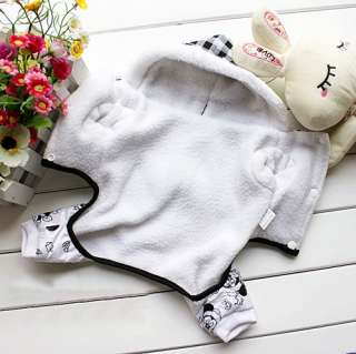 white Cartoon Hoodie Jacket Coat Jumpsuit puppy Dog pet clothes 6 Size